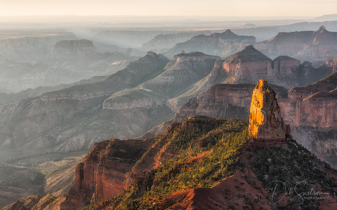 Early Light hits Mt Hayden at Point Imperial, North Rim Grand Canyon