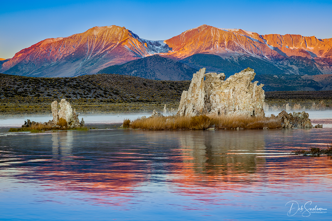 Mono Lake Sunrise with First Light on Eastern Sierra Mountains
