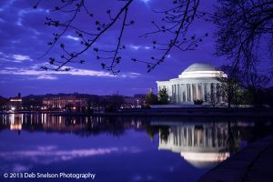 Jefferson Memorial Washington DC Tidal Basin Blue moment Predawn cherry blossom buds Low light photography.jpg