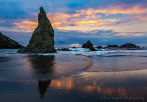 Sunset and the Wizards Hat on Coquille Beach Bandon Oregon Pacific Coast.jpg