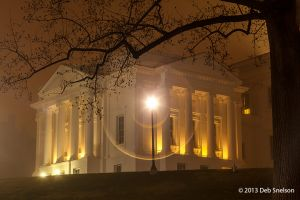 Virginia State Capitol at Night in Fog Richmond city 3.jpg