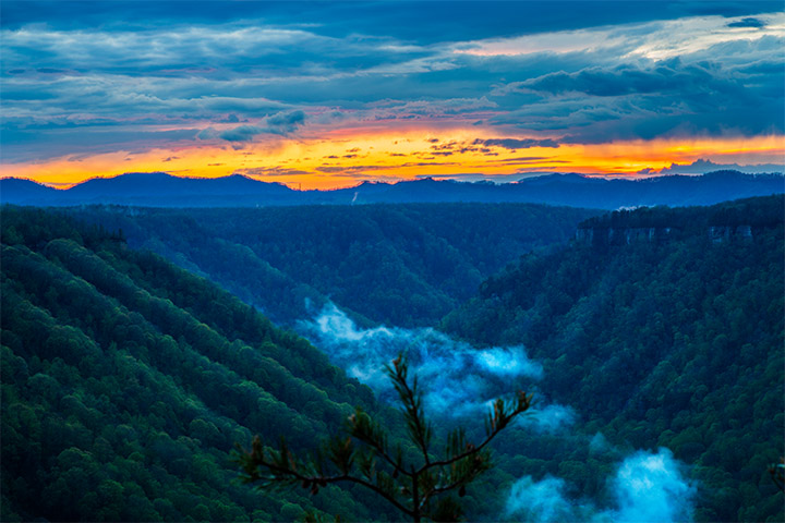 after sunset beauty mountain west virginia new river gorge