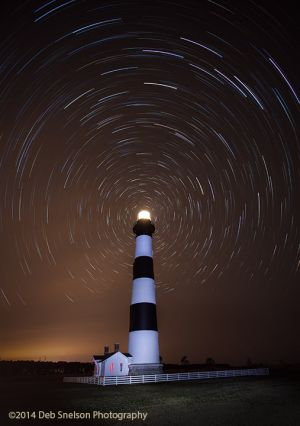 Bodie Lighthouse at Night with Star Trails, Outer Banks, North Carolina