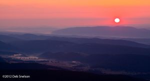 Glow of Dawn over the Allegheny Mountains from Dolly Sods Wilderness West Virginia
