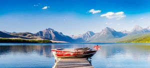 Lake McDonald Boats golden hour Glacier National Park Montana USA.jpg
