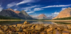 Lake Sherburne Sunrise Many Glacier Glacier National Park Montana USA.jpg