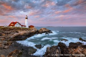 Ebb Tide - Sunset at Portland Head Light, Maine