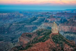 Pt Imperial view of Mt Hayden at dusk Grand Canyon.jpg