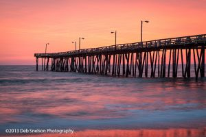 Coral Dawn -  Sunrise behind Nags Head Pier, Outer Banks, NC