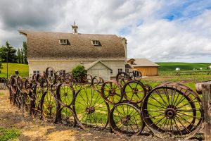 Dahmen Barn with Wheel fence Uniontown Washington Palouse.jpg