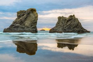 Sea Stacks Waves and Reflections at Sunset on a Bandon Beach Oregon Pacific Coast.jpg