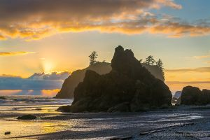Sunbeams and Sunset on Ruby Beach Olympic National Park Washington.jpg