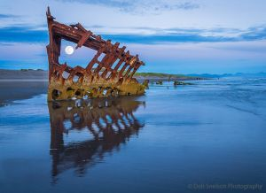 Wreck of the  Peter Iredale Bluehour with Full Moon-c69.jpg