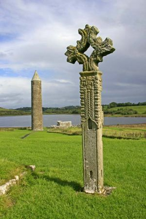 High Cross and Round Tower Devonish Island Fermanagh Ireland.jpg
