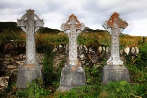Stone cross grave markers Derrynane Abbey Kerry Ireland.jpg