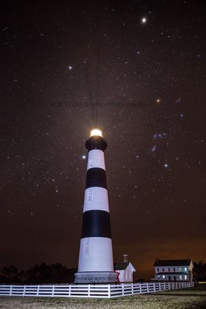 Bodie Lighthouse at Night with Orion Constellation Outer Banks North Carolina.jpg